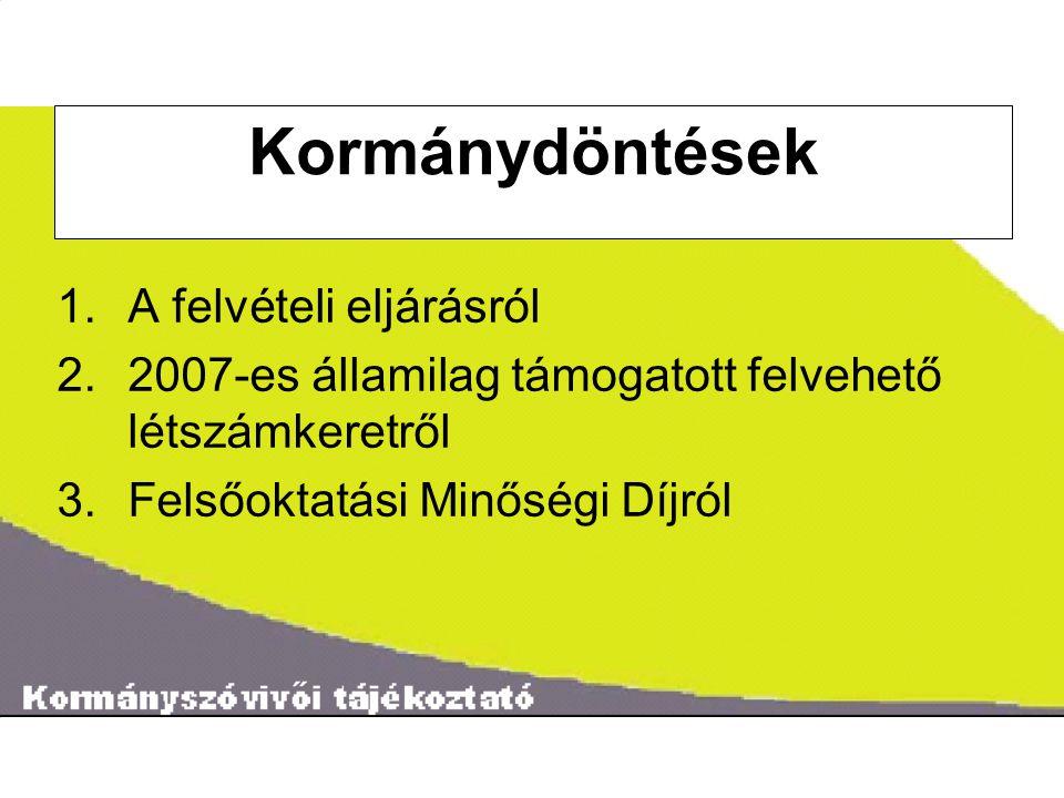˝ Kormánydöntések 1.A felvételi eljárásról 2.2007-es államilag támogatott felvehető létszámkeretről 3.Felsőoktatási Minőségi Díjról