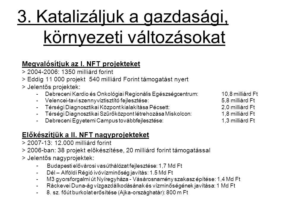 3. Katalizáljuk a gazdasági, környezeti változásokat Megvalósítjuk az I. NFT projekteket > 2004-2006: 1350 milliárd forint > Eddig 11 000 projekt 540