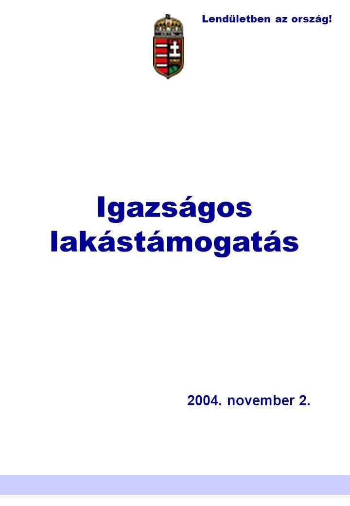 Lendületben az ország! Nemzeti Területfejlesztési Hivatal Igazságos lakástámogatás 2004. november 2.