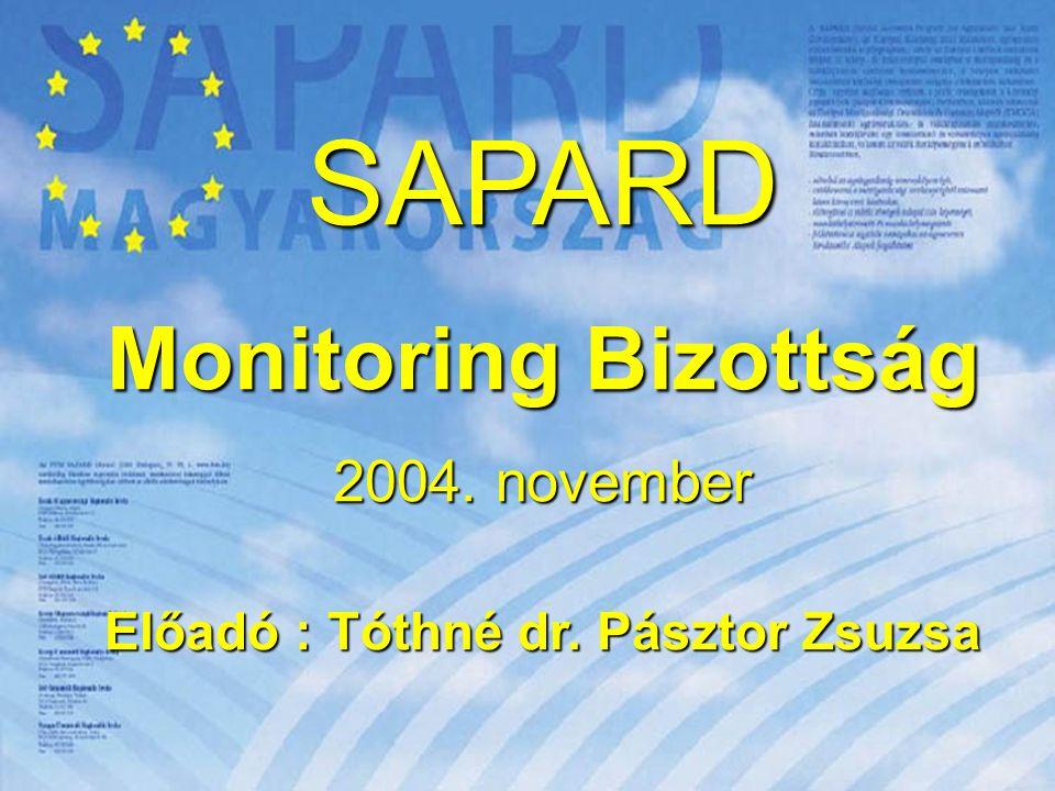 1 SAPARD Monitoring Bizottság 2004. november Előadó : Tóthné dr. Pásztor Zsuzsa