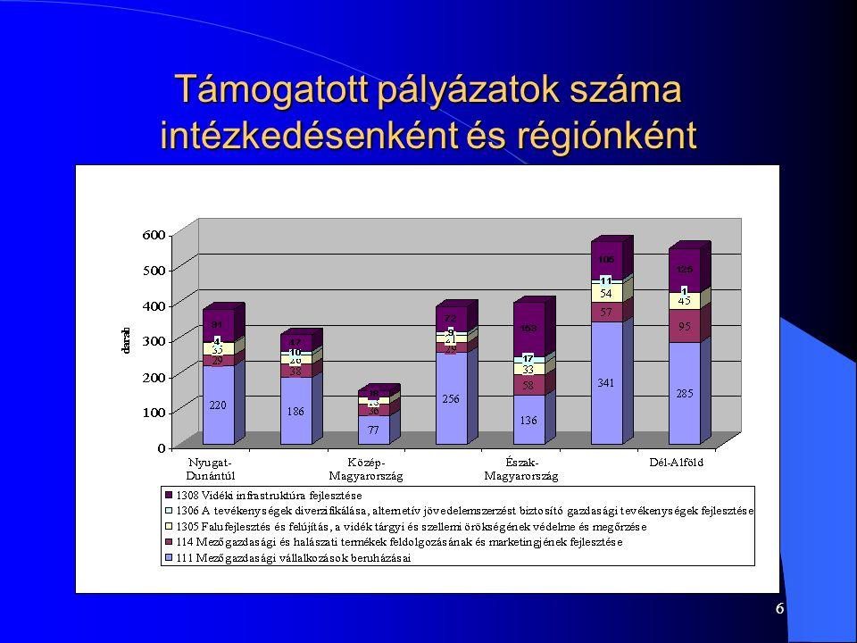 6 Támogatott pályázatok száma intézkedésenként és régiónként