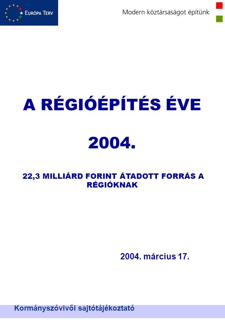 Nemzeti Területfejlesztési Hivatal A RÉGIÓÉPÍTÉS ÉVE 2004.
