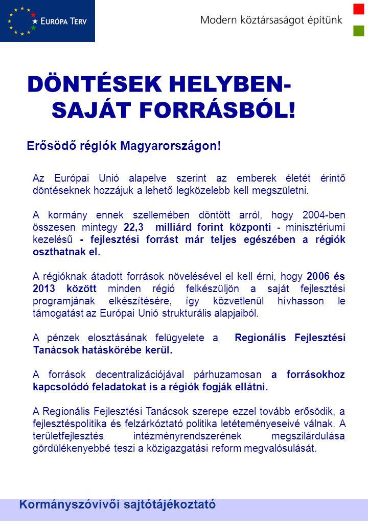 DÖNTÉSEK HELYBEN- SAJÁT FORRÁSBÓL. Erősödő régiók Magyarországon.