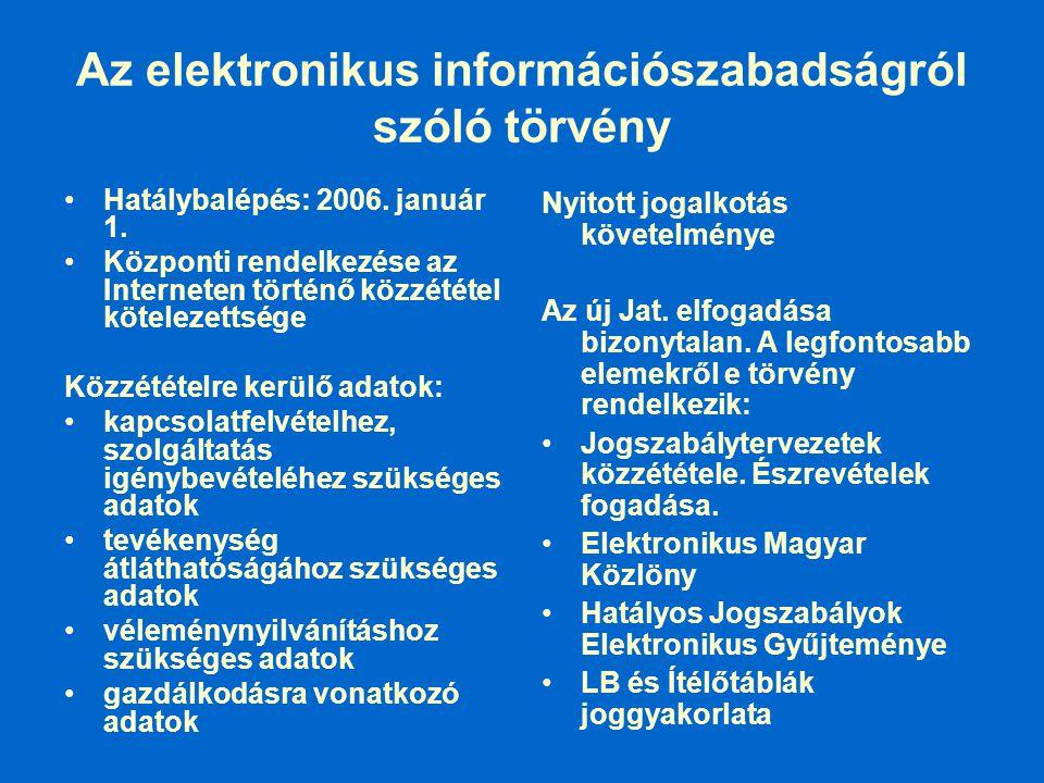Az elektronikus információszabadságról szóló törvény Hatálybalépés: 2006. január 1. Központi rendelkezése az Interneten történő közzététel kötelezetts
