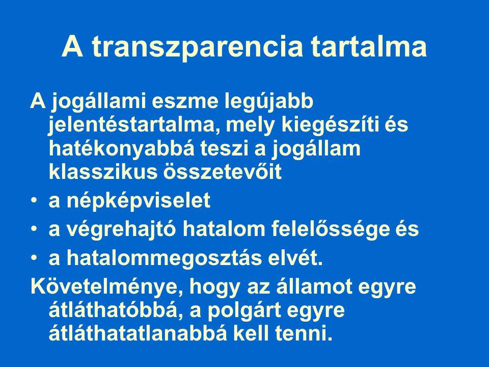 A transzparencia tartalma A jogállami eszme legújabb jelentéstartalma, mely kiegészíti és hatékonyabbá teszi a jogállam klasszikus összetevőit a népké