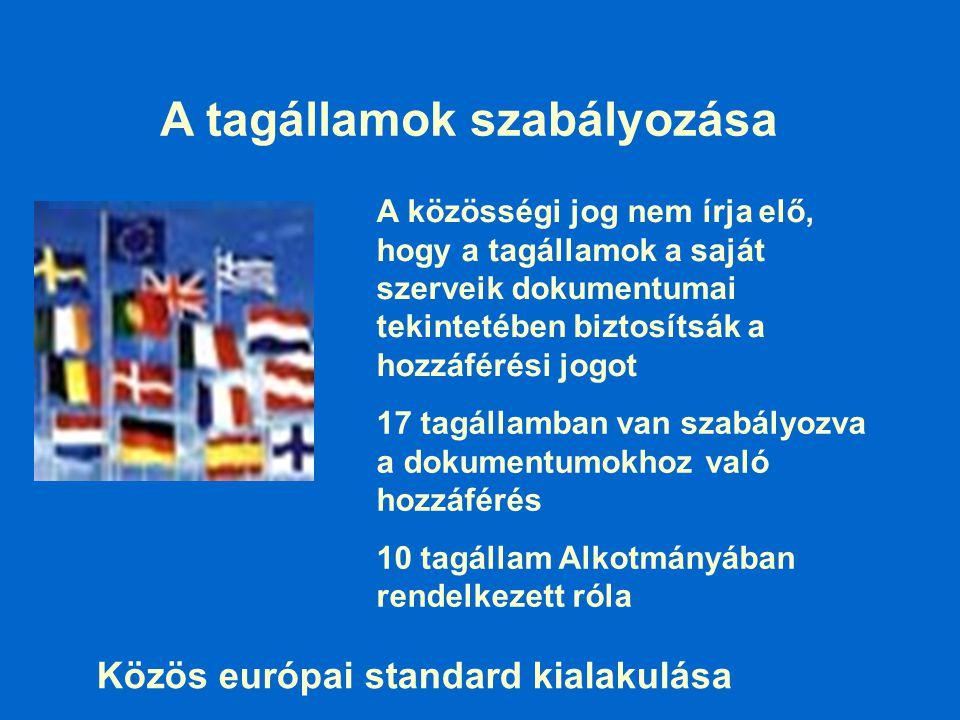 17 tagállamban van szabályozva a dokumentumokhoz való hozzáférés 10 tagállam Alkotmányában rendelkezett róla A tagállamok szabályozása A közösségi jog nem írja elő, hogy a tagállamok a saját szerveik dokumentumai tekintetében biztosítsák a hozzáférési jogot Közös európai standard kialakulása