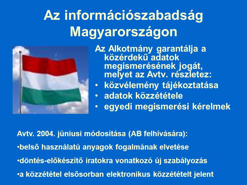 Az információszabadság Magyarországon Az Alkotmány garantálja a közérdekű adatok megismerésének jogát, melyet az Avtv. részletez: közvélemény tájékozt