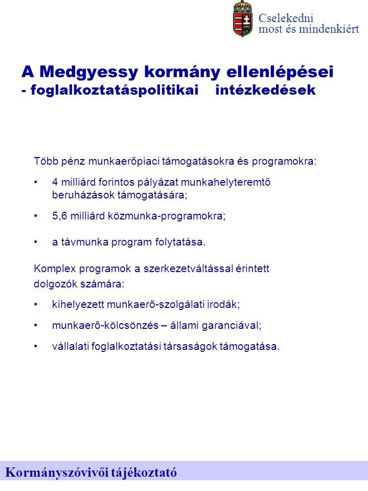A Medgyessy kormány ellenlépései - foglalkoztatáspolitikai intézkedések Több pénz munkaerőpiaci támogatásokra és programokra: 4 milliárd forintos pályázat munkahelyteremtő beruházások támogatására; 5,6 milliárd közmunka-programokra; a távmunka program folytatása.