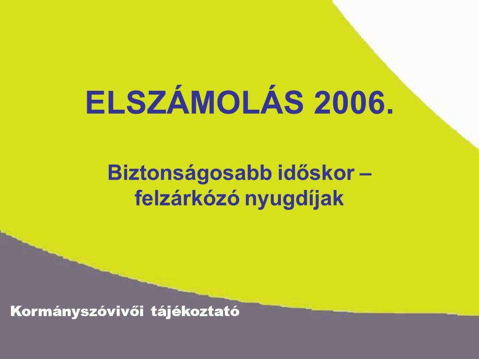 Kormányszóvivői tájékoztató ELSZÁMOLÁS 2006. Biztonságosabb időskor – felzárkózó nyugdíjak