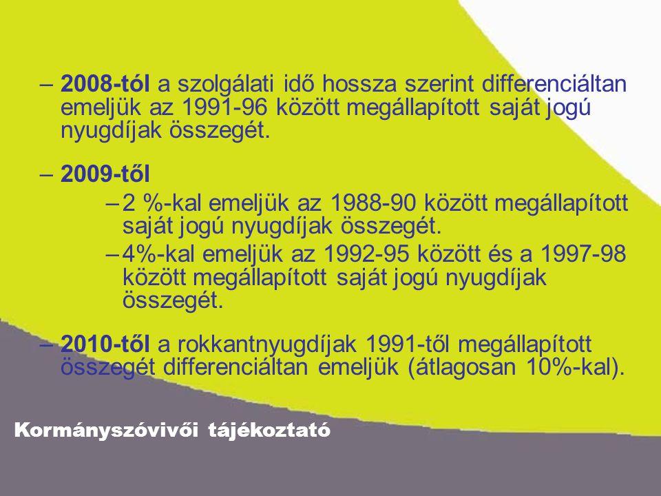 Kormányszóvivői tájékoztató –2008-tól a szolgálati idő hossza szerint differenciáltan emeljük az 1991-96 között megállapított saját jogú nyugdíjak összegét.