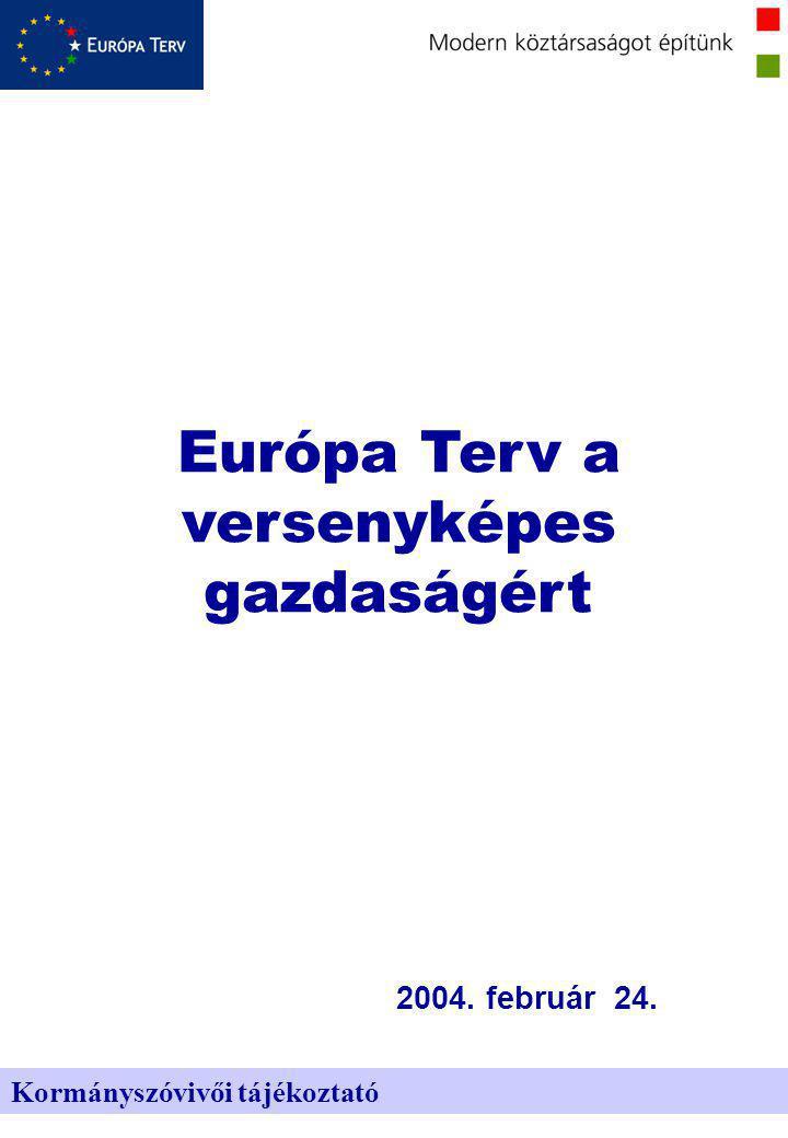 Kormányszóvivői tájékoztató 2004. február 24. Európa Terv a versenyképes gazdaságért
