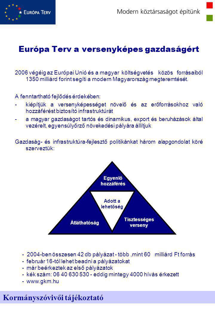 2006 végéig az Európai Unió és a magyar költségvetés közös forrásaiból 1350 milliárd forint segíti a modern Magyarország megteremtését.