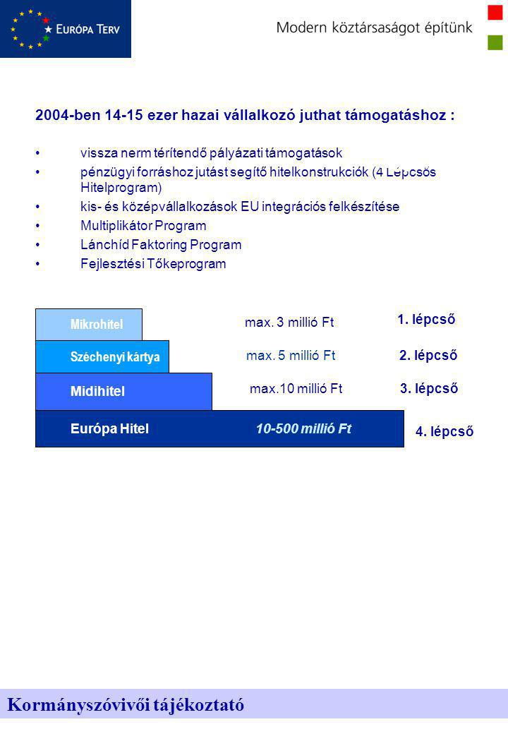 2004-ben 14-15 ezer hazai vállalkozó juthat támogatáshoz : vissza nerm térítendő pályázati támogatások pénzügyi forráshoz jutást segítő hitelkonstrukciók (4 Lépcsős Hitelprogram) kis- és középvállalkozások EU integrációs felkészítése Multiplikátor Program Lánchíd Faktoring Program Fejlesztési Tőkeprogram Kormányszóvivői tájékoztató Egyenlő hozzáférés Átláthatóság Európa Hitel Midihitel Széchenyi kártya Mikrohitel 1.