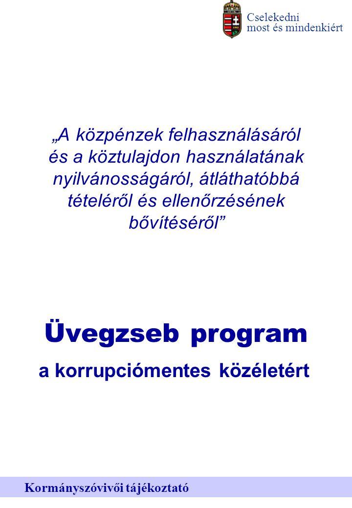 """Cselekedni most és mindenkiért Kormányszóvivői tájékoztató """"A közpénzek felhasználásáról és a köztulajdon használatának nyilvánosságáról, átláthatóbbá tételéről és ellenőrzésének bővítéséről Üvegzseb program a korrupciómentes közéletért"""