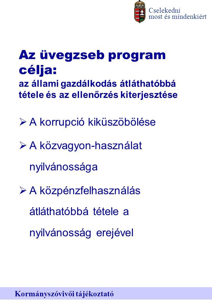 Cselekedni most és mindenkiért Kormányszóvivői tájékoztató Az üvegzseb program célja: az állami gazdálkodás átláthatóbbá tétele és az ellenőrzés kiterjesztése  A korrupció kiküszöbölése  A közvagyon-használat nyilvánossága  A közpénzfelhasználás átláthatóbbá tétele a nyilvánosság erejével