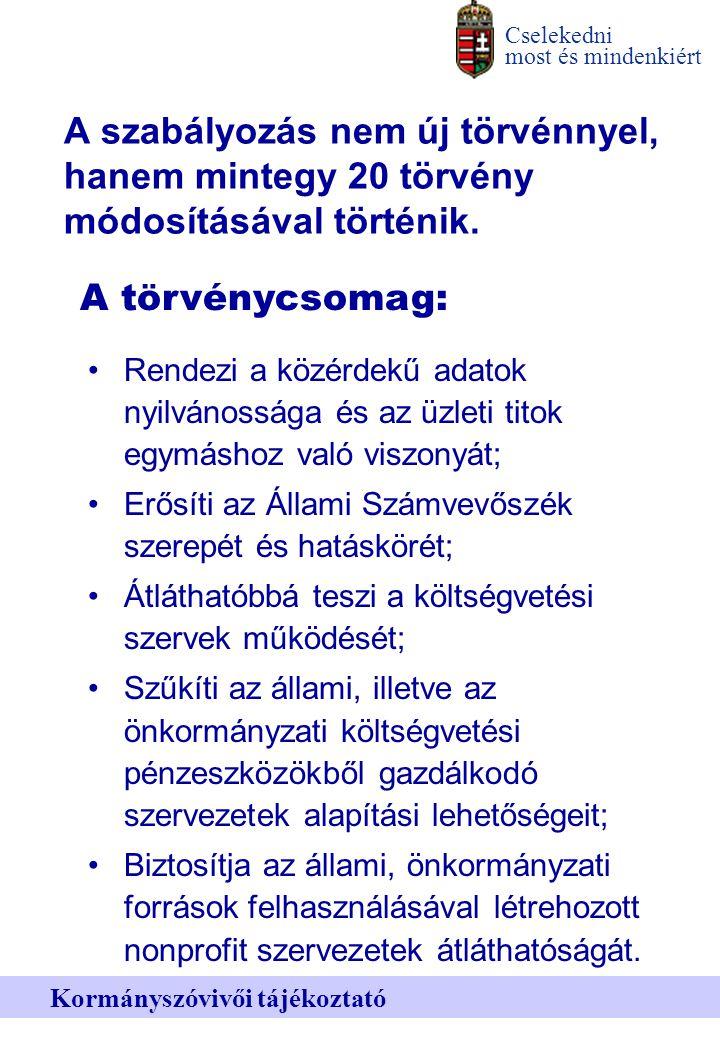Cselekedni most és mindenkiért Kormányszóvivői tájékoztató A szabályozás nem új törvénnyel, hanem mintegy 20 törvény módosításával történik.