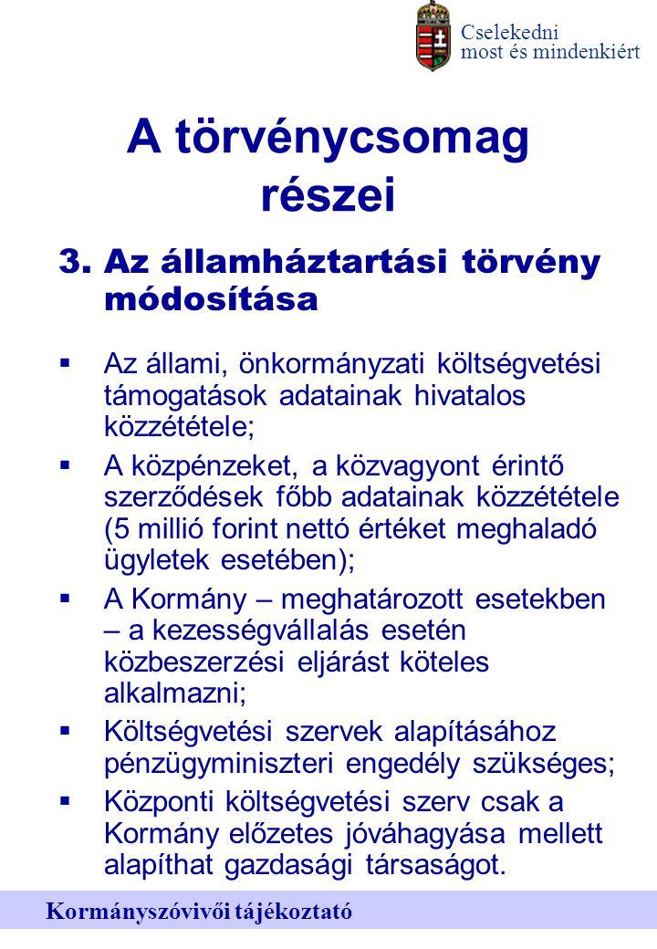 Cselekedni most és mindenkiért Kormányszóvivői tájékoztató A törvénycsomag részei 3.