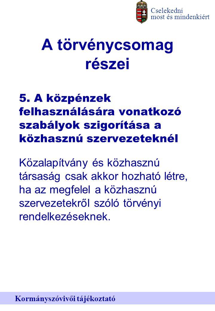 Cselekedni most és mindenkiért Kormányszóvivői tájékoztató A törvénycsomag részei 5.