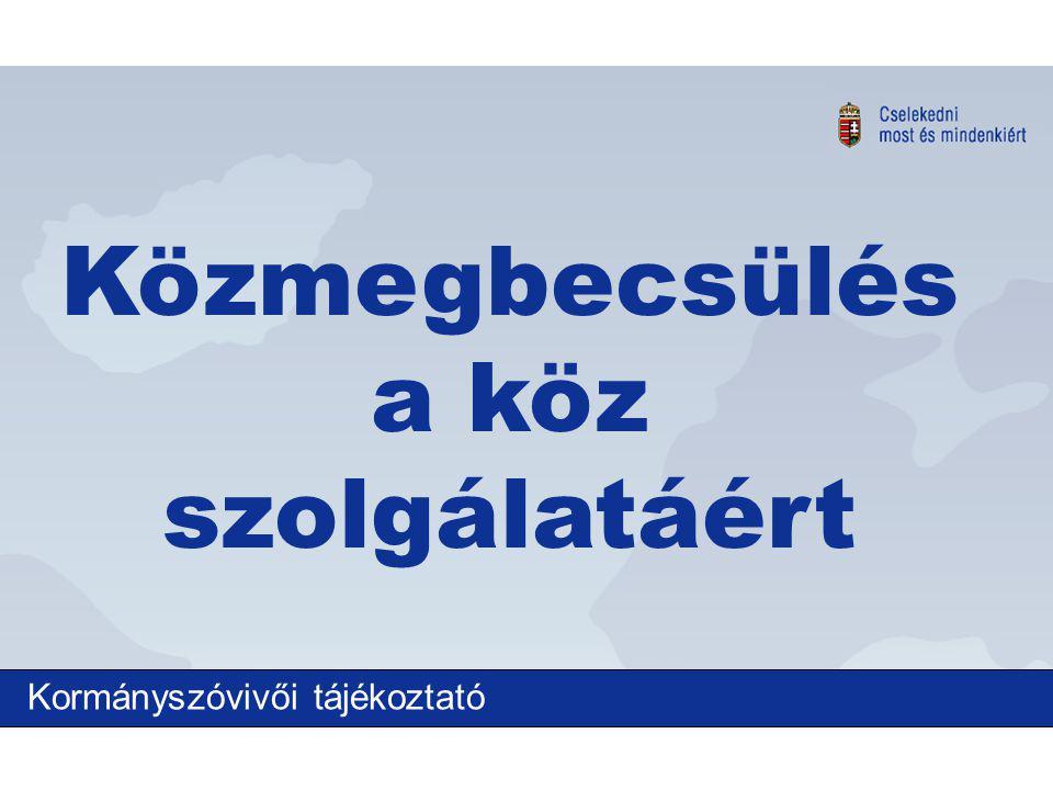 Kormányszóvivői tájékoztató Közmegbecsülés a köz szolgálatáért