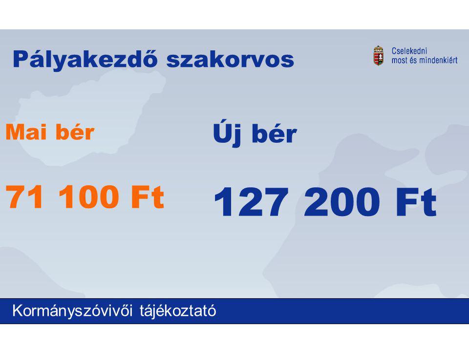 Pályakezdő szakorvos Mai bér 71 100 Ft Új bér 127 200 Ft Kormányszóvivői tájékoztató