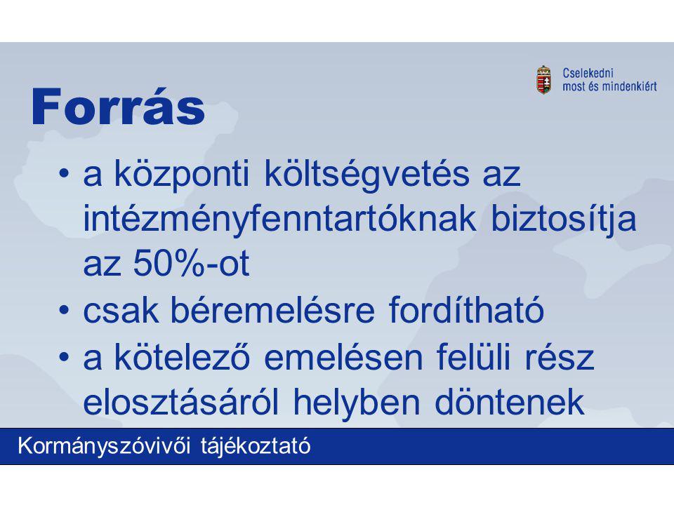 Forrás a központi költségvetés az intézményfenntartóknak biztosítja az 50%-ot csak béremelésre fordítható a kötelező emelésen felüli rész elosztásáról helyben döntenek Kormányszóvivői tájékoztató