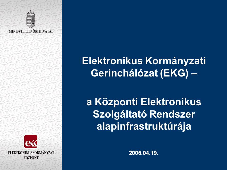Elektronikus Kormányzati Gerinchálózat (EKG) Előzmények 1995 Kormányzati Üzenetkezelő Rendszer (X.400) (Kizárólag a fővárosban: minisztériumok és országos hatáskörű szervek központjai) 1996 Kormányzati Internet kapcsolat a SZTAKI –n keresztül (2 Mb/s sávszélesség a teljes kormányzat számára) 2000 Az EKG érdemi döntéseinek előkészítése 2001 Az EKG kiépítésének megkezdése 2001-2003 az EKG kiépítése