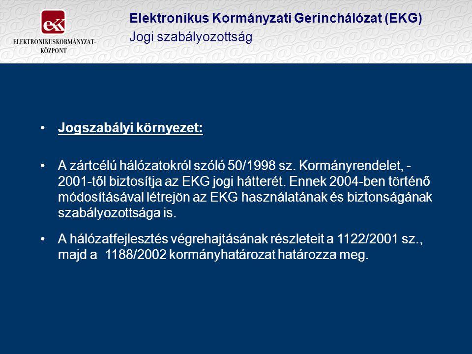 Elektronikus Kormányzati Gerinchálózat (EKG) Jogi szabályozottság Jogszabályi környezet: A zártcélú hálózatokról szóló 50/1998 sz.