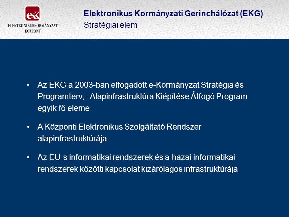 Elektronikus Kormányzati Gerinchálózat (EKG) Stratégiai elem Az EKG a 2003-ban elfogadott e-Kormányzat Stratégia és Programterv, - Alapinfrastruktúra Kiépítése Átfogó Program egyik fő eleme A Központi Elektronikus Szolgáltató Rendszer alapinfrastruktúrája Az EU-s informatikai rendszerek és a hazai informatikai rendszerek közötti kapcsolat kizárólagos infrastruktúrája