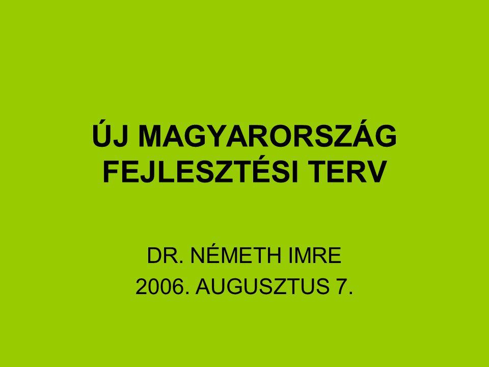 ÚJ MAGYARORSZÁG FEJLESZTÉSI TERV DR. NÉMETH IMRE 2006. AUGUSZTUS 7.