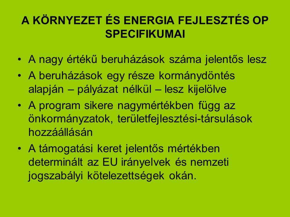 A KÖRNYEZET ÉS ENERGIA FEJLESZTÉS OP SPECIFIKUMAI A nagy értékű beruházások száma jelentős lesz A beruházások egy része kormánydöntés alapján – pályázat nélkül – lesz kijelölve A program sikere nagymértékben függ az önkormányzatok, területfejlesztési-társulások hozzáállásán A támogatási keret jelentős mértékben determinált az EU irányelvek és nemzeti jogszabályi kötelezettségek okán.
