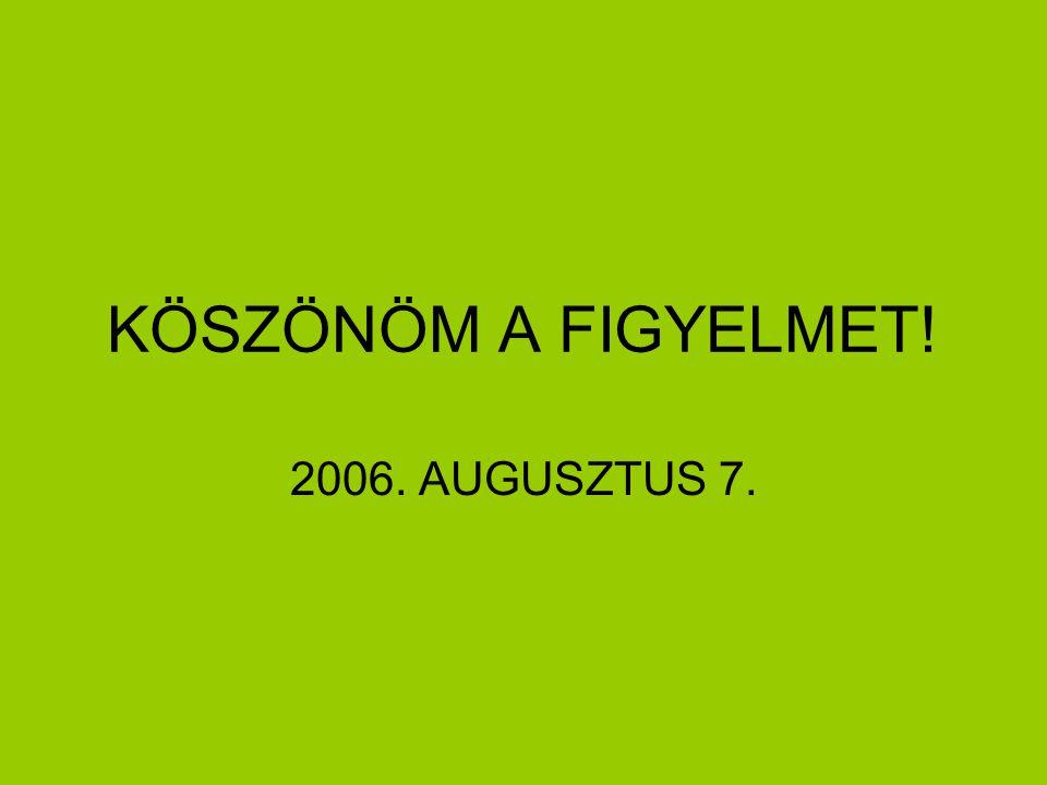 KÖSZÖNÖM A FIGYELMET! 2006. AUGUSZTUS 7.