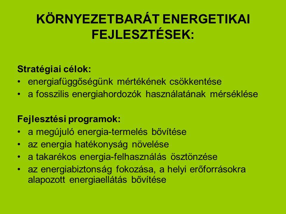 KÖRNYEZETBARÁT ENERGETIKAI FEJLESZTÉSEK: Stratégiai célok: energiafüggőségünk mértékének csökkentése a fosszilis energiahordozók használatának mérséklése Fejlesztési programok: a megújuló energia-termelés bővítése az energia hatékonyság növelése a takarékos energia-felhasználás ösztönzése az energiabiztonság fokozása, a helyi erőforrásokra alapozott energiaellátás bővítése