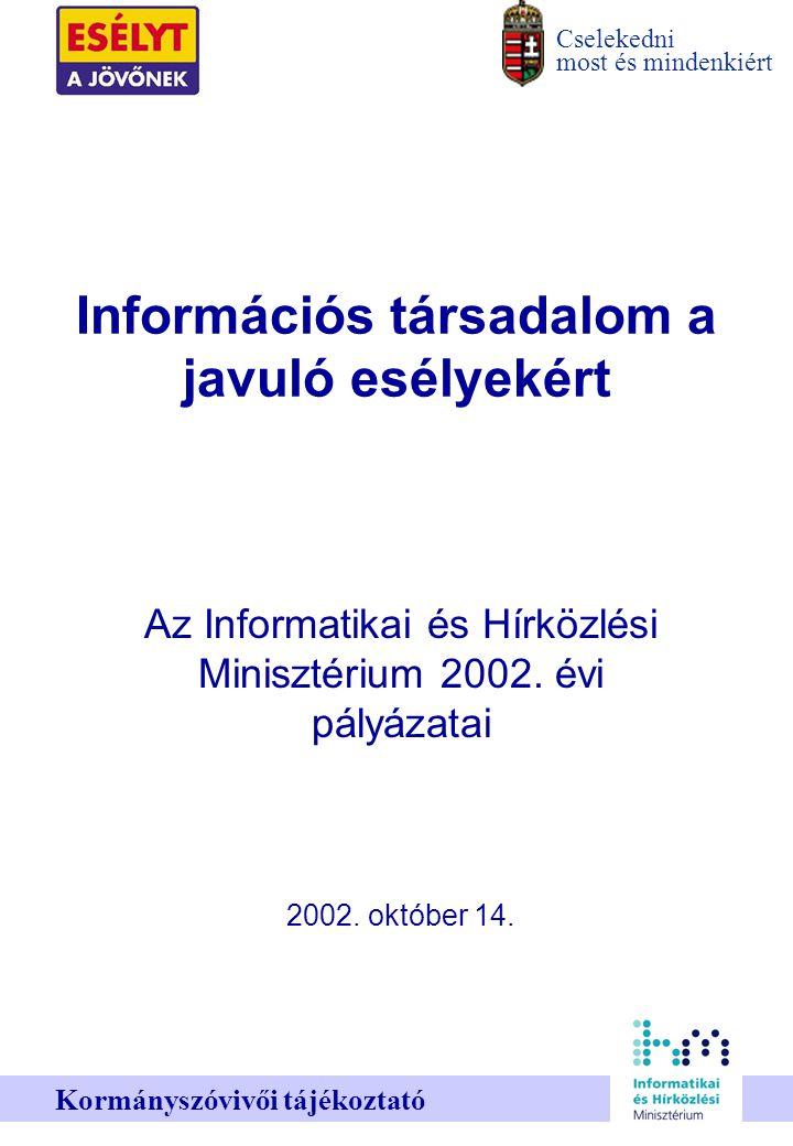 Cselekedni most és mindenkiért Kormányszóvivői tájékoztató Információs társadalom a javuló esélyekért Az Informatikai és Hírközlési Minisztérium 2002.