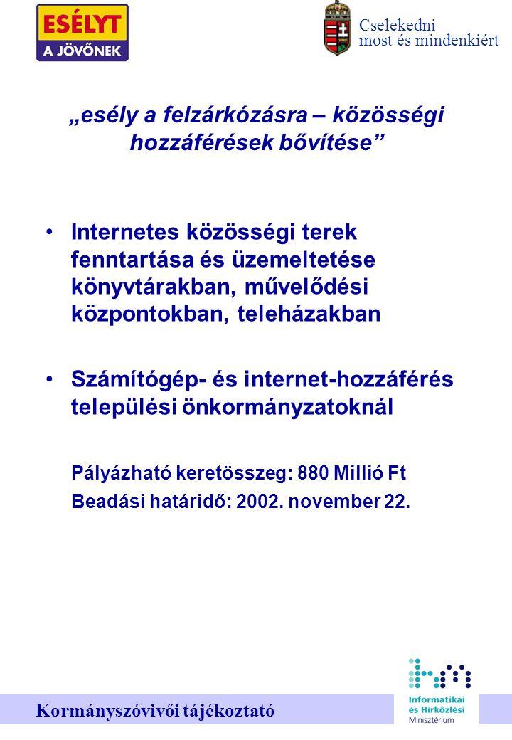 """Cselekedni most és mindenkiért Kormányszóvivői tájékoztató """"esély a felzárkózásra – közösségi hozzáférések bővítése Internetes közösségi terek fenntartása és üzemeltetése könyvtárakban, művelődési központokban, teleházakban Számítógép- és internet-hozzáférés települési önkormányzatoknál Pályázható keretösszeg: 880 Millió Ft Beadási határidő: 2002."""