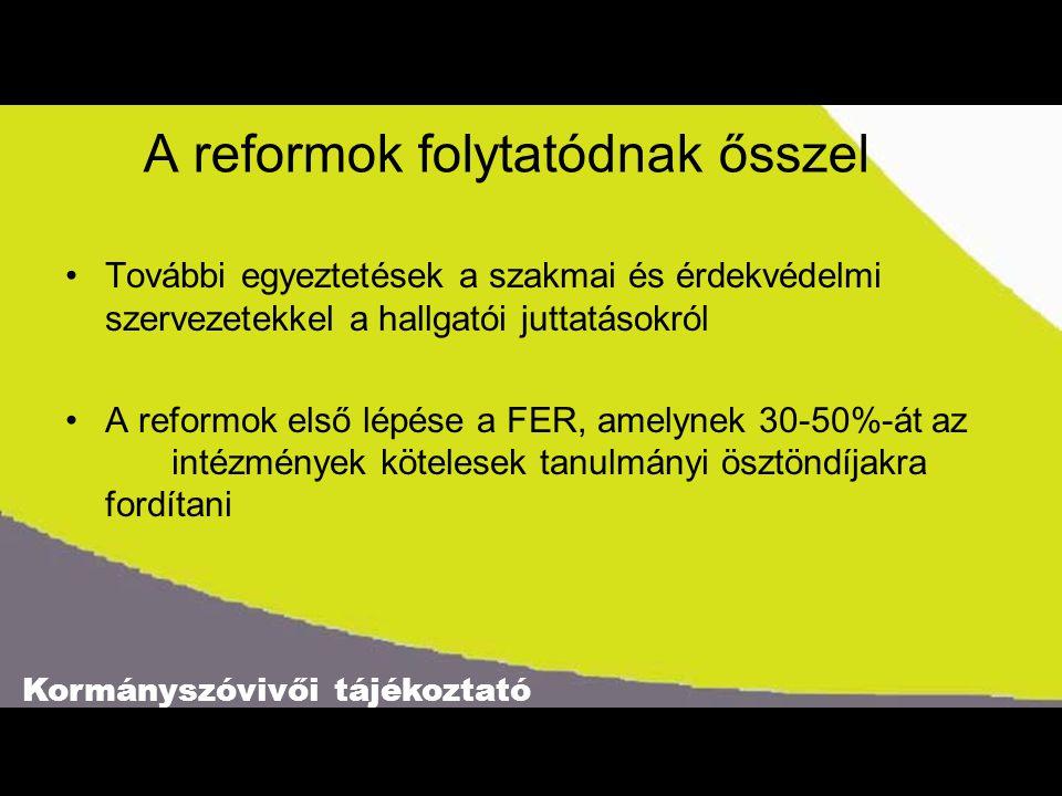 Kormányszóvivői tájékoztató A reformok folytatódnak ősszel További egyeztetések a szakmai és érdekvédelmi szervezetekkel a hallgatói juttatásokról A reformok első lépése a FER, amelynek 30-50%-át az intézmények kötelesek tanulmányi ösztöndíjakra fordítani