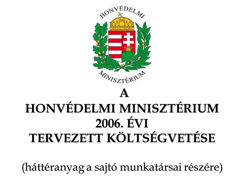 A HONVÉDELMI MINISZTÉRIUM 2006. ÉVI TERVEZETT KÖLTSÉGVETÉSE (háttéranyag a sajtó munkatársai részére) A HONVÉDELMI MINISZTÉRIUM 2006. ÉVI TERVEZETT KÖ
