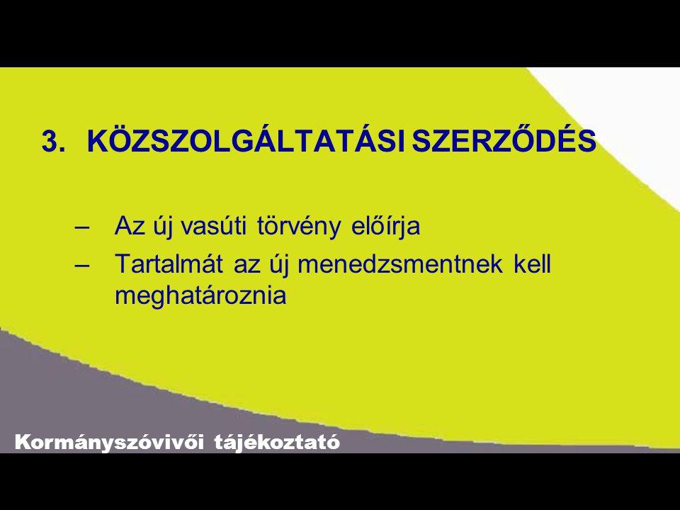 Kormányszóvivői tájékoztató 3.KÖZSZOLGÁLTATÁSI SZERZŐDÉS –Az új vasúti törvény előírja –Tartalmát az új menedzsmentnek kell meghatároznia