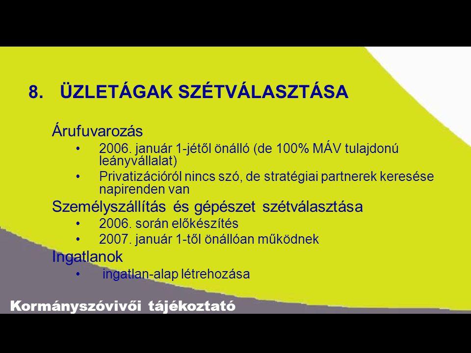 Kormányszóvivői tájékoztató 8.ÜZLETÁGAK SZÉTVÁLASZTÁSA Árufuvarozás 2006.