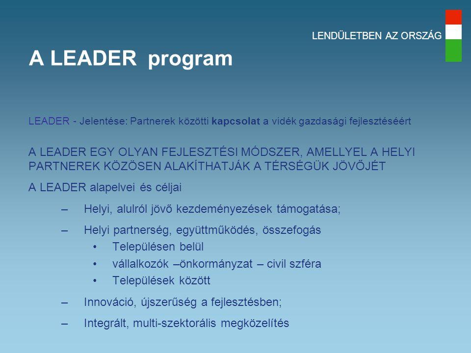 LENDÜLETBEN AZ ORSZÁG A LEADER program LEADER - Jelentése: Partnerek közötti kapcsolat a vidék gazdasági fejlesztéséért A LEADER EGY OLYAN FEJLESZTÉSI MÓDSZER, AMELLYEL A HELYI PARTNEREK KÖZÖSEN ALAKÍTHATJÁK A TÉRSÉGÜK JÖVŐJÉT A LEADER alapelvei és céljai –Helyi, alulról jövő kezdeményezések támogatása; –Helyi partnerség, együttműködés, összefogás Településen belül vállalkozók –önkormányzat – civil szféra Települések között –Innováció, újszerűség a fejlesztésben; –Integrált, multi-szektorális megközelítés
