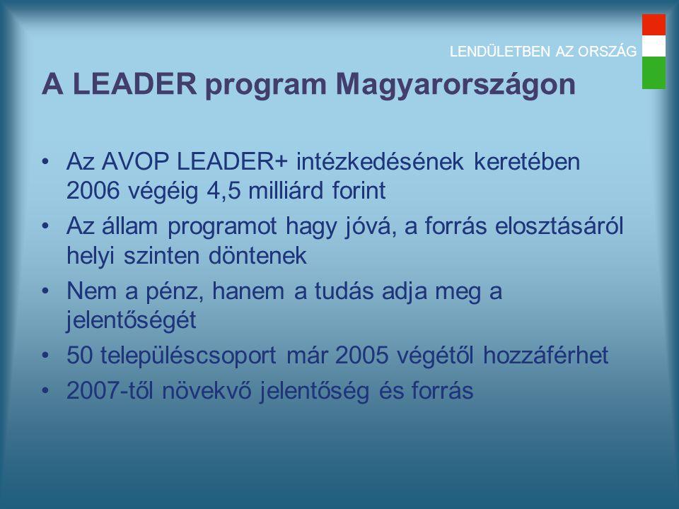 LENDÜLETBEN AZ ORSZÁG A LEADER program Magyarországon Az AVOP LEADER+ intézkedésének keretében 2006 végéig 4,5 milliárd forint Az állam programot hagy jóvá, a forrás elosztásáról helyi szinten döntenek Nem a pénz, hanem a tudás adja meg a jelentőségét 50 településcsoport már 2005 végétől hozzáférhet 2007-től növekvő jelentőség és forrás