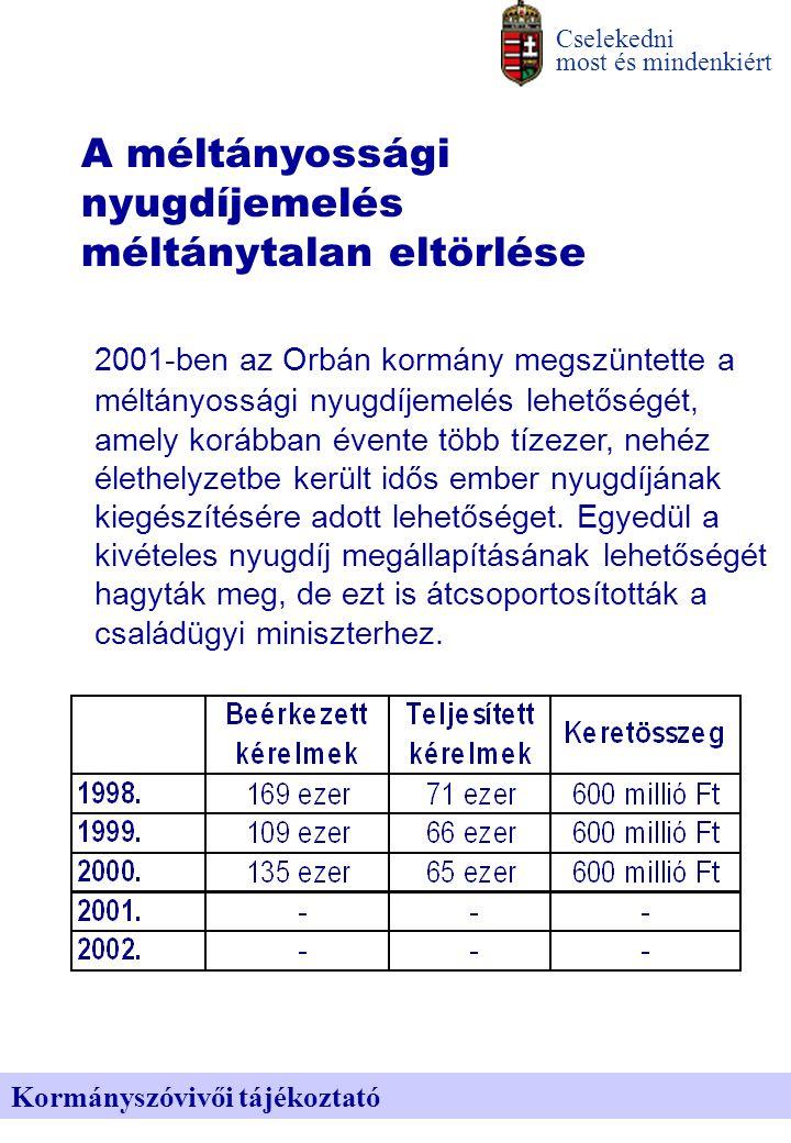 Cselekedni most és mindenkiért Kormányszóvivői tájékoztató A méltányossági nyugdíjemelés méltánytalan eltörlése 2001-ben az Orbán kormány megszüntette a méltányossági nyugdíjemelés lehetőségét, amely korábban évente több tízezer, nehéz élethelyzetbe került idős ember nyugdíjának kiegészítésére adott lehetőséget.