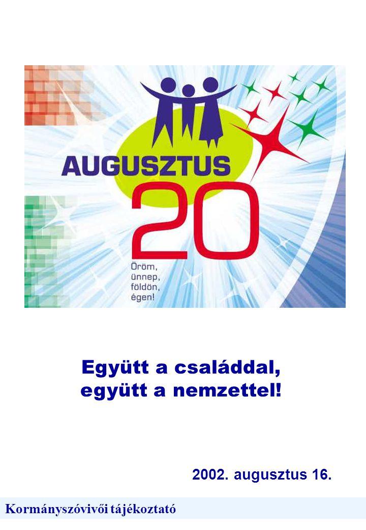 Együtt a családdal, együtt a nemzettel! 2002. augusztus 16. Kormányszóvivői tájékoztató