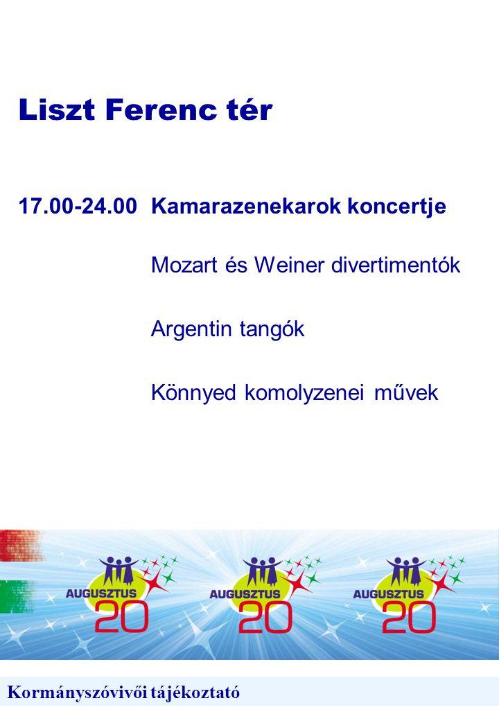 Liszt Ferenc tér Kormányszóvivői tájékoztató 17.00-24.00Kamarazenekarok koncertje Mozart és Weiner divertimentók Argentin tangók Könnyed komolyzenei művek