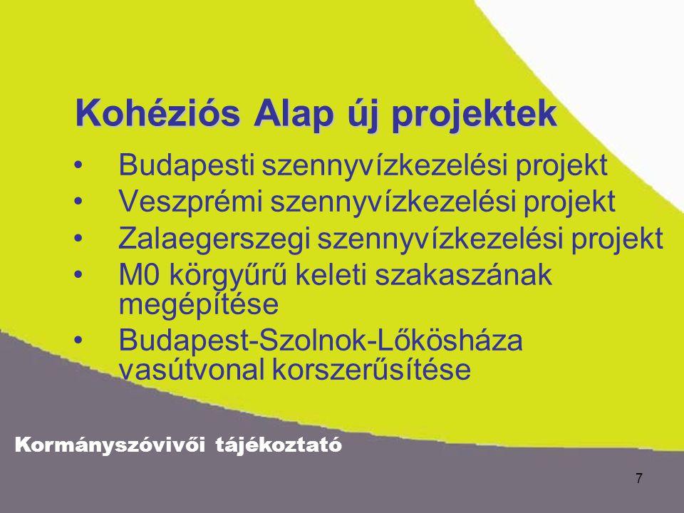 Kormányszóvivői tájékoztató 7 Kohéziós Alap új projektek Budapesti szennyvízkezelési projekt Veszprémi szennyvízkezelési projekt Zalaegerszegi szennyv