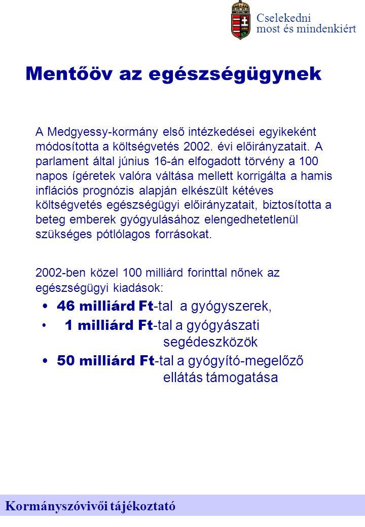A Medgyessy-kormány első intézkedései egyikeként módosította a költségvetés 2002.