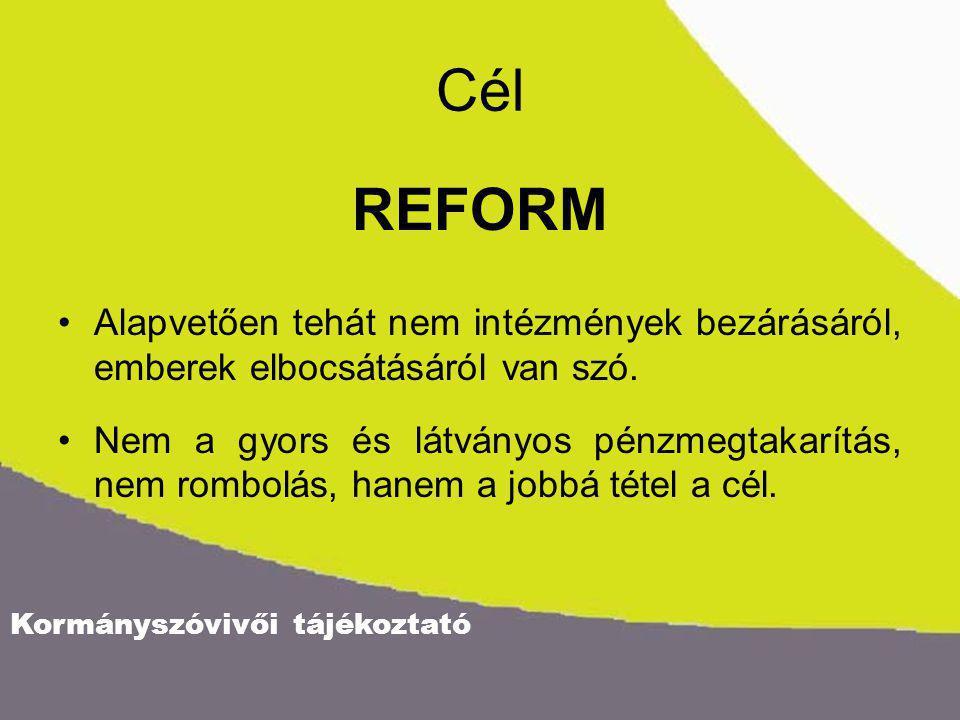 Kormányszóvivői tájékoztató Cél REFORM Alapvetően tehát nem intézmények bezárásáról, emberek elbocsátásáról van szó. Nem a gyors és látványos pénzmegt
