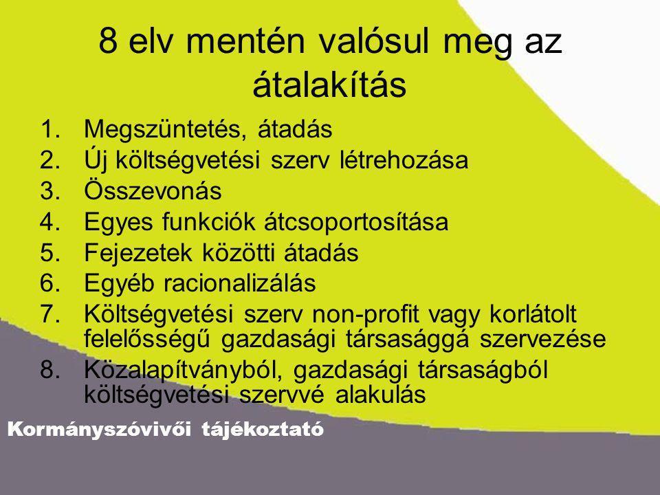 Kormányszóvivői tájékoztató 8 elv mentén valósul meg az átalakítás 1.Megszüntetés, átadás 2.Új költségvetési szerv létrehozása 3.Összevonás 4.Egyes fu