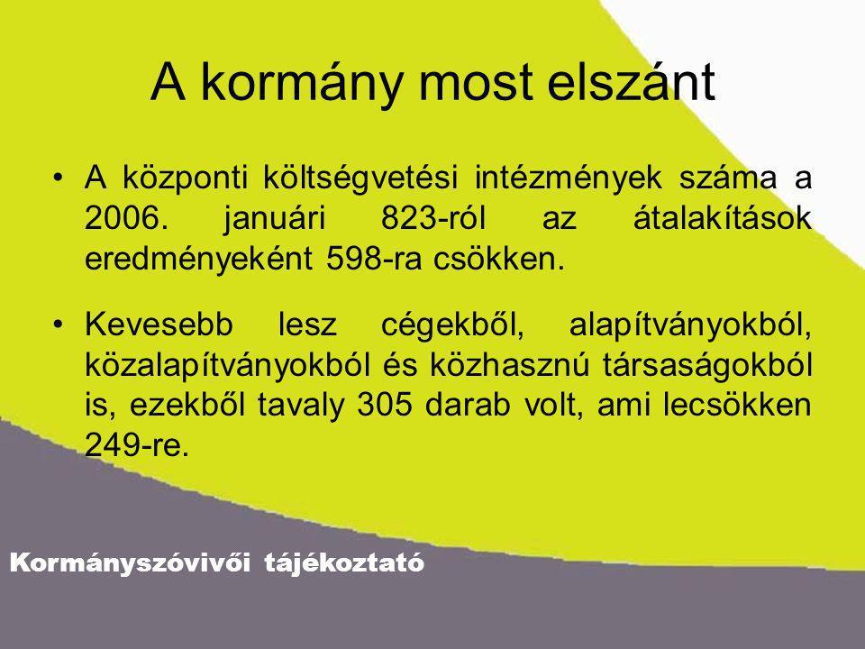 Kormányszóvivői tájékoztató A kormány most elszánt A központi költségvetési intézmények száma a 2006. januári 823-ról az átalakítások eredményeként 59
