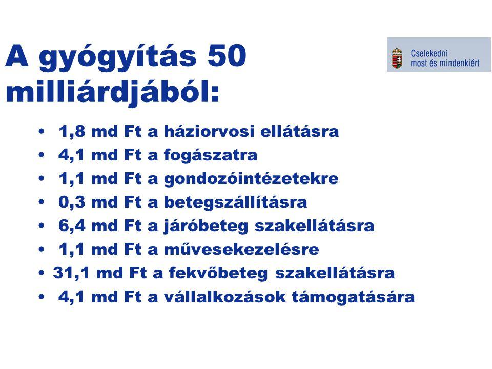 A gyógyítás 50 milliárdjából: 1,8 md Ft a háziorvosi ellátásra 4,1 md Ft a fogászatra 1,1 md Ft a gondozóintézetekre 0,3 md Ft a betegszállításra 6,4 md Ft a járóbeteg szakellátásra 1,1 md Ft a művesekezelésre 31,1 md Ft a fekvőbeteg szakellátásra 4,1 md Ft a vállalkozások támogatására Kormányszóvivői tájékoztató