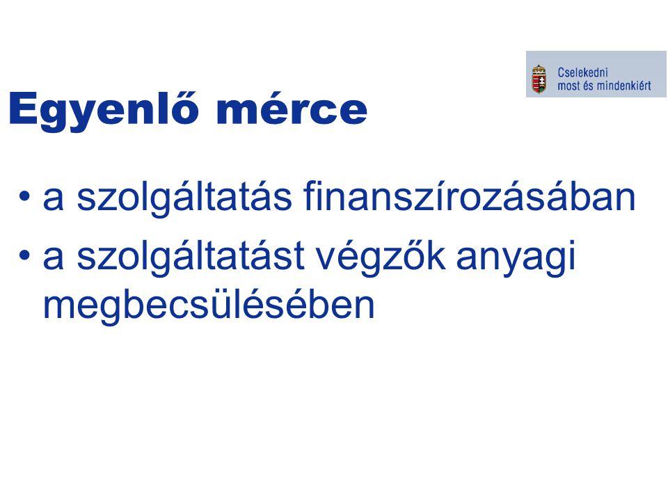 Egyenlő mérce a szolgáltatás finanszírozásában a szolgáltatást végzők anyagi megbecsülésében Kormányszóvivői tájékoztató